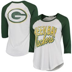Green Bay Packers Women's Play Action Vintage 3/4-Sleeve Raglan T-Shirt - White/Green