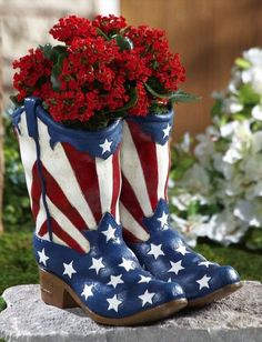 Repurpose and DIY. Use old boots for patio planter. Fill boot with stone then dirt. May use small terra cotta planter inside. Geraniums!