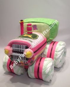 Tractor Diaper Cake for Girl - Baby Girl Diaper Cakes #JohnDeere