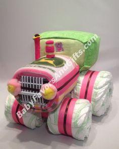 Tractor Diaper Cake for Girl - Baby Girl Diaper Cakes #JohnDeere
