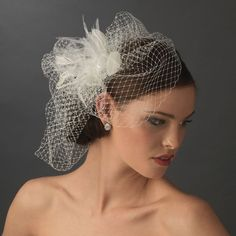 White or Ivory Crystal Bridal Feather Fascinator birdcage veil french tulle 8415