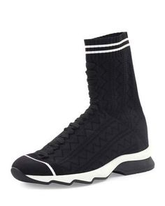 Fendi Zigzag-Knit Sock Sneaker, Black/White