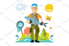 Fishing. Fisherman with big fish.. Human Icons. $6.00