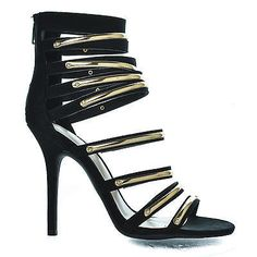 Black Gold Metallic Open Toe Strappy Dress High Heel Sandal Wild Diva Adele-41
