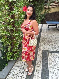 """Milanofhawaii is a vintage dream! She said """"The Lena sarong dress in Red Waterlilies from Trashy Diva was just perfect for a romantic dinner on a hot night."""" #trashydivalenasarongdress #trashydivaredwaterlilies"""