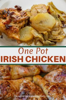 This One Pot Irish Chicken is made using potatoes, cabbage, and onions. Don't let the bland colors fool you.it is packed with flavor and would be perfect for St Patricks Day # patricks day dinner cabbage One Pot Irish Chicken Scottish Recipes, Irish Recipes, Greek Recipes, Italian Recipes, Irish Meals, Cabbage And Potatoes, Chicken And Cabbage, One Pot Chicken, Chicken Meals