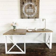 The Rustic Barn wood sign ... and L shaped Double X Desk, Featuring Handmade Haven