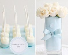 Blue decoration for baby shower Baptism Party, Boy Baptism, Christening, Baptism Ideas, Ideas Bautizo, Just In Case, Just For You, Marshmallow Pops, Dipped Marshmallows