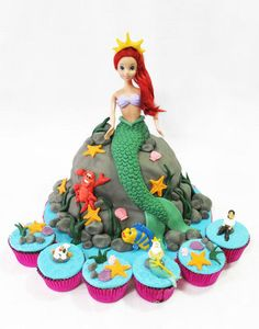 Ariel Cake and Little Mermaid Cupcakes - Cake by Larisse Espinueva                                                                                                                                                                                 More