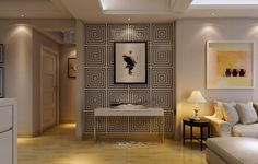 Modern Ceiling Lighting Also Geometric Wall Decor And Cool Side Table For Living Room Design