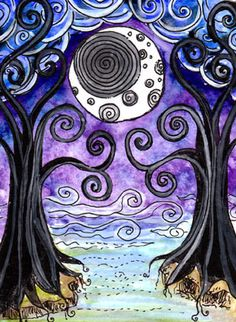 XVIII: The Moon  The Moon, with a spiral at its center, is framed by two twisting trees. The clouds are rolling in, as is the mists that separate this world from that which is beyond.