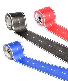 Loving this 45' Red, Blue & Black Road - Set of Three on #zulily!  For the wall or floor #zulilyfinds