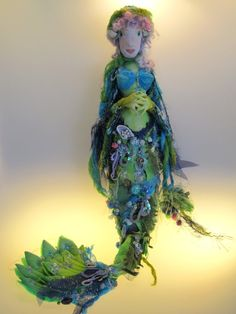 Lady of the Ocean Ooak art doll beaded mermaid by Kaeriefaerie52, $85.00