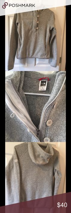 North Face jacket hooded pullover S Soft gray hoodie pullover size S 1/2 button up North Face logo on sleeve North Face Jackets & Coats