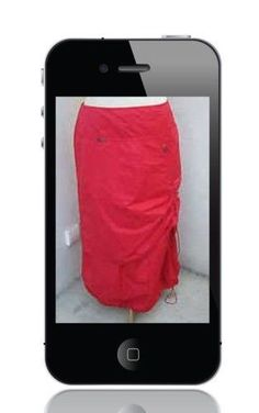 Chic Parachute Ruched Style Layered Lagenlook RED Skirt From France Size M  #Unknown #Bubble