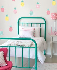 Are you interested in our watermelon wall stickers? With our fruit wall decals you need look no further. Nursery Design, Nursery Decor, Bedroom Decor, Girls Bedroom, Summer Bedroom, Bedrooms, Wall Stickers, Wall Decals, King Single Bed