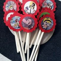 "The+Grim+Adventures+of+Billy+&+Mandy  all+different+images    Stick+these+guys+in+cupcakes,cheese,+fruit+etc+  Each+set+comes+with+12+picks.+They+are+Approx:+3-3+1/4""+Tall+and+1+1/4""+Wide.+  single+side+images+are+1""+with+trim    These+are+handmade+so+if+you+need+more+just+let+me+know+&+give+me+a..."