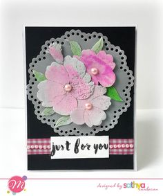 Watercolored Embossed card using Mudra stamps