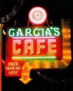 """""""Garcia's Cafe"""" neon sign - Albuquerque, New Mexico along Route 66 Old Neon Signs, Vintage Neon Signs, Neon Light Signs, Old Signs, Vintage Ads, Coffee Shops, Neon Moon, Historic Route 66, Albuquerque News"""