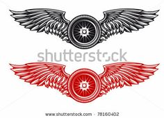 Wheel with wings for tattoo or mascot design. Jpeg version also available in gallery by Seamartini Graphics, via Shutterstock