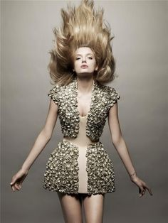 Lily Donaldson in i-D Magazine wearing Alexander McQueen S/S 2009. Photo: Solve Sundsbo.