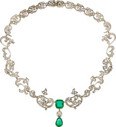 Victorian Diamond, Emerald, Silver-Topped Gold Necklace. ... Estate | Lot #58109 | Heritage Auctions