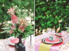 pink pineapple table decor! Now that's different & cute :)