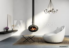 Stock Image: Living room with fireplace, lounge minimal white interior Living Room With Fireplace, Scandinavian Design, Minimalism, Lounge, Interior, Home Decor, Illustration, Image, Products