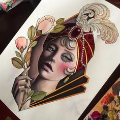 """Hannah Flowers 在 Instagram 上发布:""""I think as finished as this one will get"""" Traditional Tattoo Flowers, Neo Traditional Tattoo, Tattoo Sketches, Tattoo Drawings, New School Tattoo Design, Tattoo Studio, Mujeres Tattoo, Neo Tattoo, Handpoked Tattoo"""