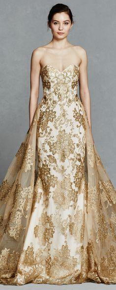 Gold Wedding Dress by Kelly Faetanini