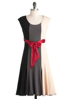 You've Got Moxie Dress by Effie's Heart - Long, Party, A-line, Short Sleeves, Red, Tan / Cream, Black, Grey, Pockets, Belted, Colorblocking, Top Rated
