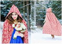 Snow White - Blog - Cape - Blue Dress and the Bouquet.   Um Kyle if you have a winter wedding can we please all have capes? @Kyle Bragger Gibson