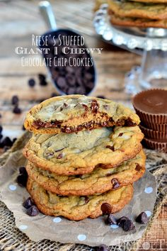 Reese's Stuffed Giant Chewy Chocolate Chip Cookies - Mom On Timeout - These look amazing!!!
