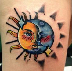 Cool, unique and small Yin Yang Tattoos with meaning and names for couples, best friends or sisters. The Best Yin Yang tattoos with suns, moons and dragons. Moon Sun Tattoo, Sun Tattoos, Couple Tattoos, Tatoos, Yin Yang Tattoos, Best Friend Tattoos, Sister Tattoos, Daughter Tattoos, Blackwork
