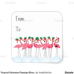 Tropical Christmas Flamingo Elves and Santa Square Sticker - March 11 #zazzle #junkydotcom