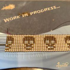 Miyuki glass seed beads loom bracelet Ring Necklace, Beaded Necklace, Bead Loom Bracelets, Loom Beading, Seed Beads, Swarovski Crystals, Glass, Gold, Leather