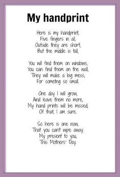 Handprint poem poem - sweet for grandparents or day.handprint_poem - sweet for grandparents or day. Baby Crafts, Toddler Crafts, Crafts For Kids, Daycare Crafts, Student Crafts, Mothers Day Cards, Mother Day Gifts, Happy Mothers Day Poem, Happy Mom
