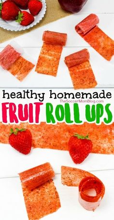 Homemade Fruit Roll-Ups - Only 2 Ingredients!How to make healthy homemade fruit roll ups! This is a snack you can feel good about serving your kids! These homemade fruit roll ups are made with real fruit an# Fruit Healthy Snacks For Kids, Easy Snacks, Healthy Drinks, Easy Meals, Healthy Food, Fruit Snacks, Yummy Food, Snacks Homemade, Snacks Kids
