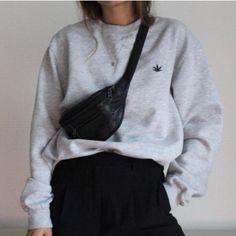 fannypack, cropped sweatshirt, skirt, leggings, slip on shoes