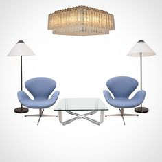 Hey vintage lovers, today we introduce you to this beautiful set:   - Large Verano Glass Chandelier by Toni Zuccheri Ed. Venini from the 60s +  - Pair of Swan Chairs by Arne Jacobsen Ed. Fritz Hansen from 1968 +  - Coffee table by Gianfranco Frattini Ed. Cassina from the 1960s +  - Pair of Opala floor lamps by Hans Wegner Ed. Louis Poulsen from 1975  Interested? Any questions?  Please feel free to contact us: sales@design-only.com Worldwide shipping.