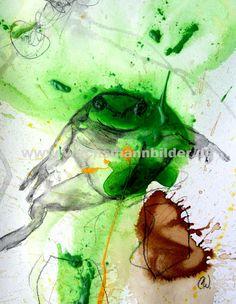 Froschbilder malen lassen - Wachsmann - grün - gelb Frösche - Malpappe auf 30 x 40 cm incl. Passepartout.