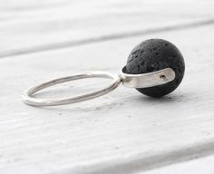 Black Lava Rock Ring Sterling Silver Lava Spinner by SunSanJewelry