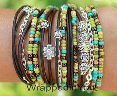 TURQUOISE Boho LEATHER Wrap Bracelet - Tibetan Style Bohemian Distressed Leather Triple Wrap w/ Silver Chain Bracelet - Gypsy - USA - 168
