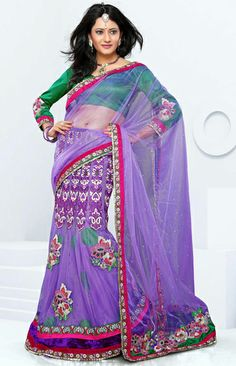 USD 84.61 Purple Chiffon Net Wedding Lehenga Saree 29606