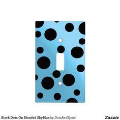 Black Dots On Blended SkyBlue Light Switch Plates