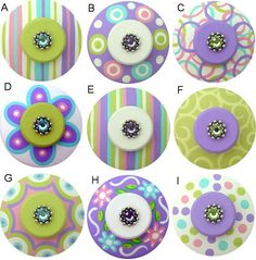 Colorful Hand Painted Pink Blue Purple and Apple Green Swarovski Crystal Jeweled Drawer Pull Knobs CHOOSE YOUR DESIGN