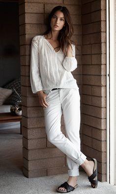Lace Detail Top :: White Denim