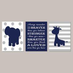 Elephant Nursery Art, Boy Nursery Decor, Jungle Animals, Elephant Nursery Print, Navy Gray Nursery, Safari Nursery Set of 3 Prints Or Canvas