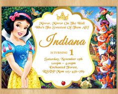 Snow White Invitation  Snow White Birthday Invitation  Snow