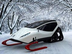 The Snowmobile Concept by Michal Bonikowski - This all terrain vehicle looks like it would be a blast to take for a spin in the snow! Automobile, Snow Machine, F12 Berlinetta, Terrain Vehicle, Cool Stuff, Transporter, Concept Cars, Cars And Motorcycles, Cool Cars